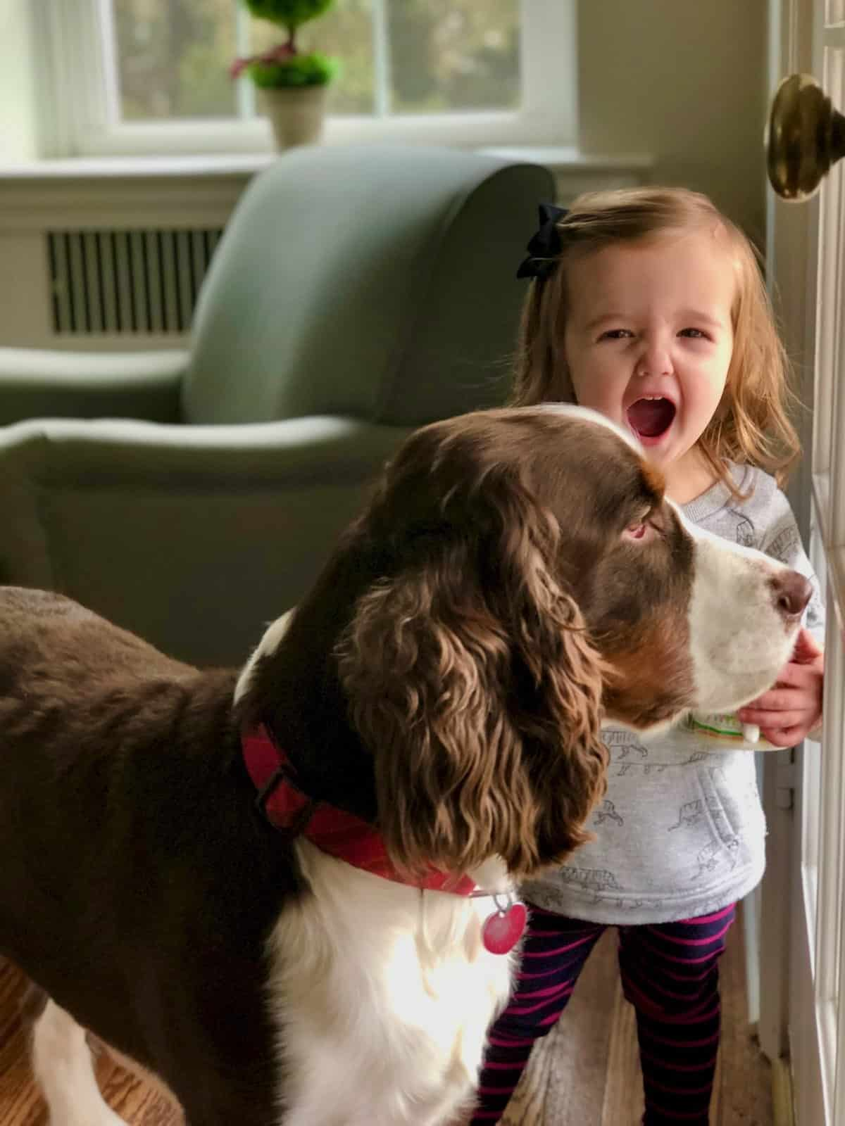 grand daughter and her dog