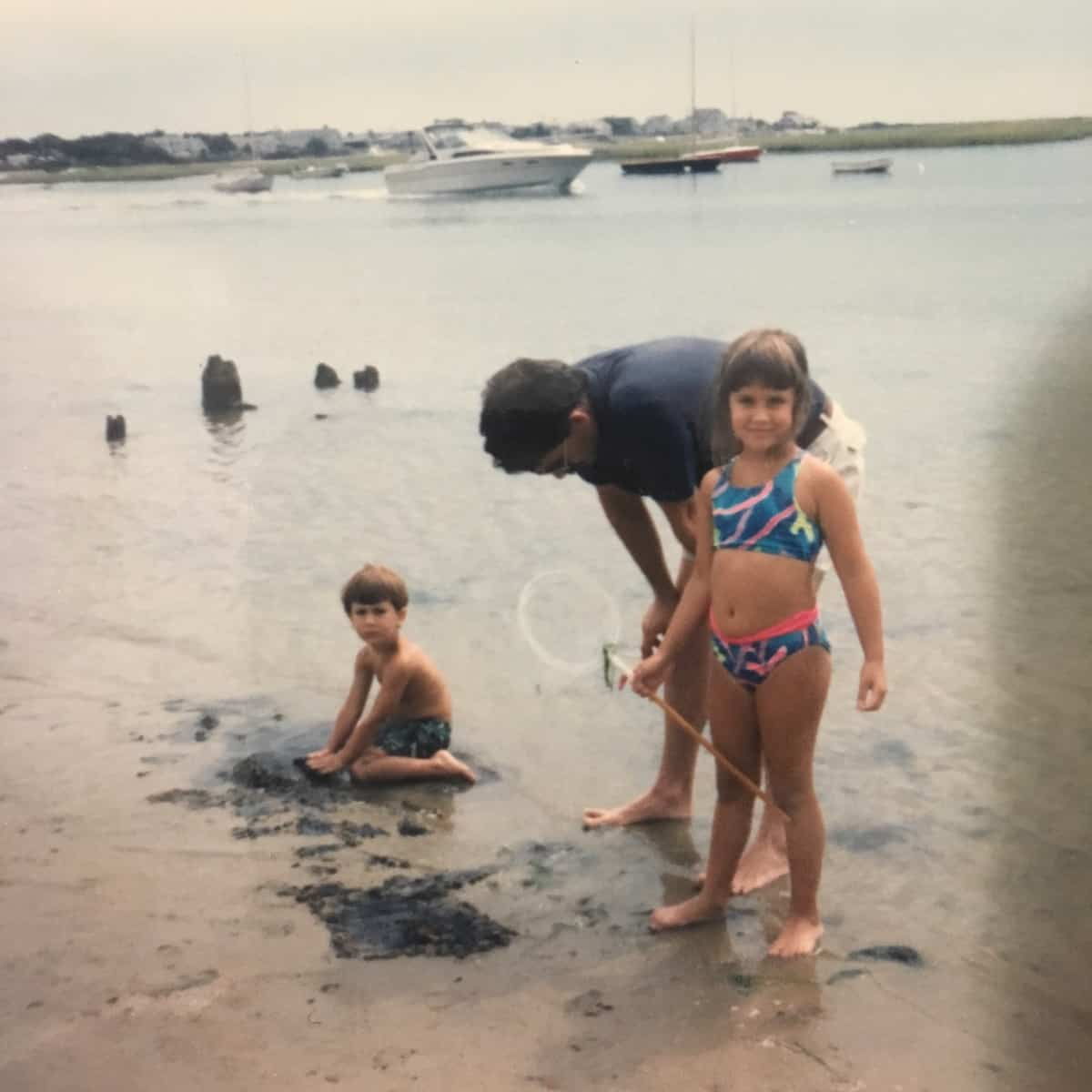 my young family at the beach in Cape Cod inspired the recipe for Lobster Corn Chowdah Cakes