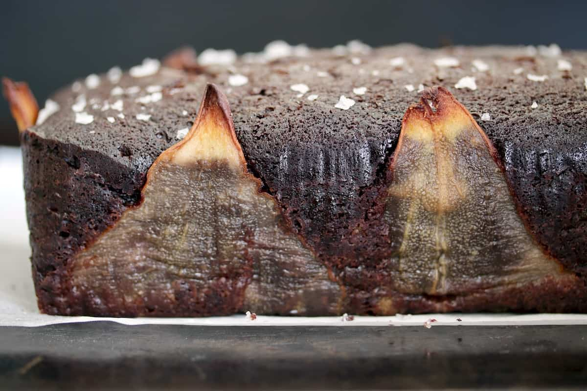 Loaf of Salted Chocolate Pear Pound Cake