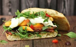 perfect pairs burrata and bacon sandwich