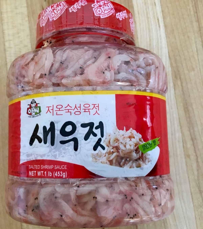 jar of salted shrimp for a flavorful spring chicken stew