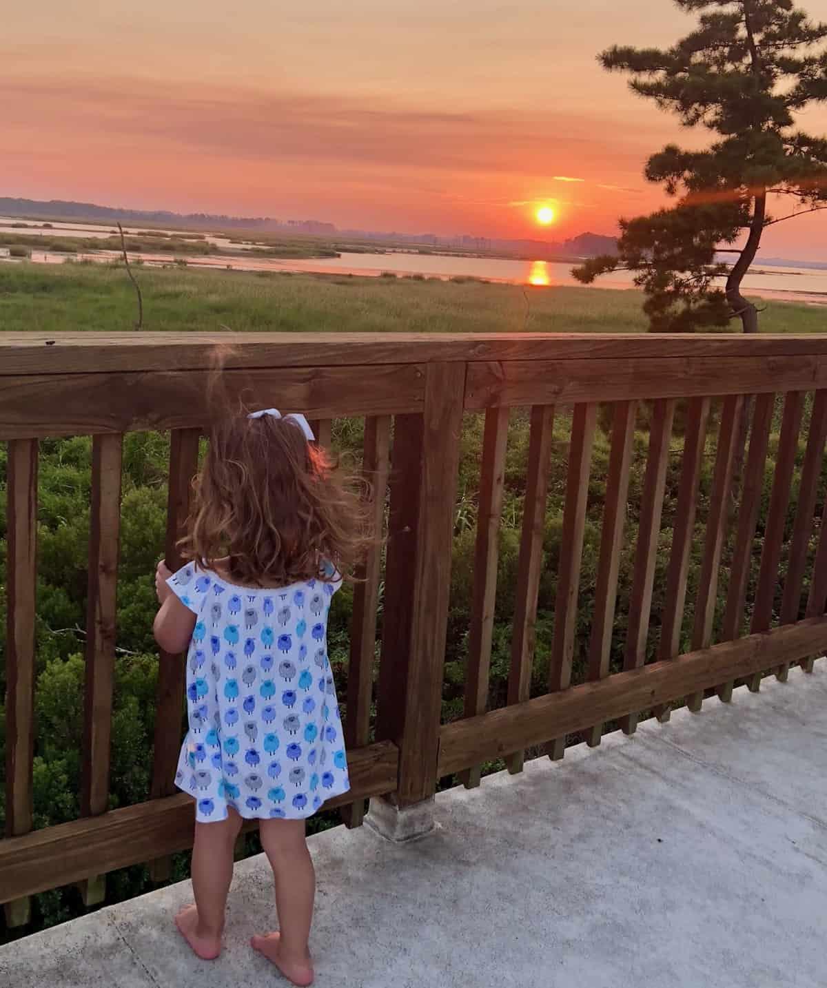 granddaughter at sunset