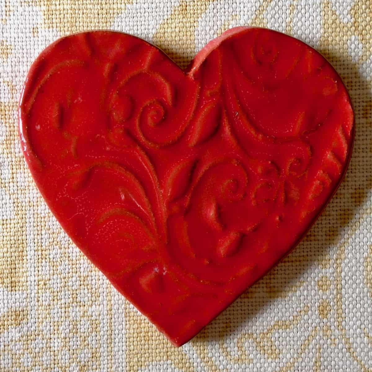 red heart shaped pottery