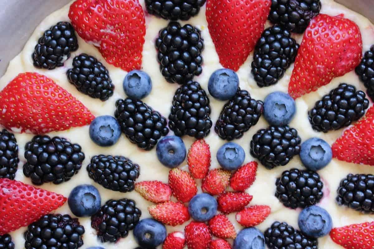 summer berry brunch cake unbaked