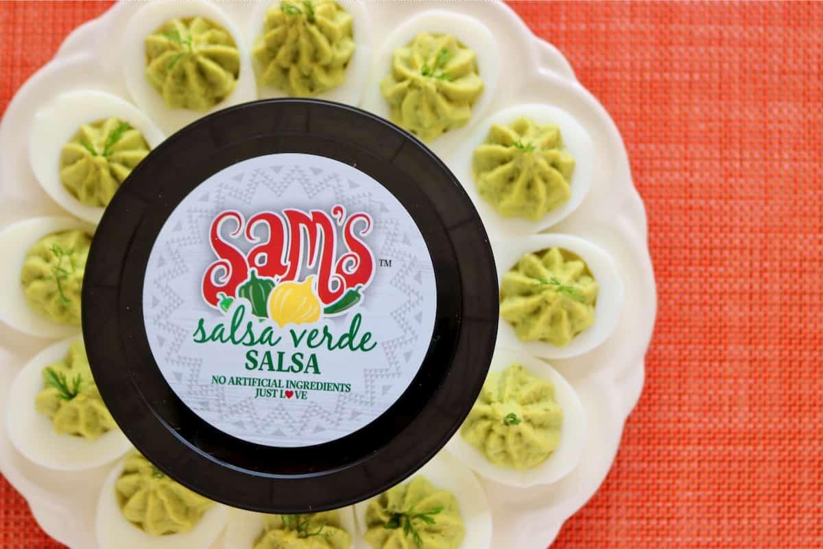 Sam's salsa verde Salsa with deviled eggs
