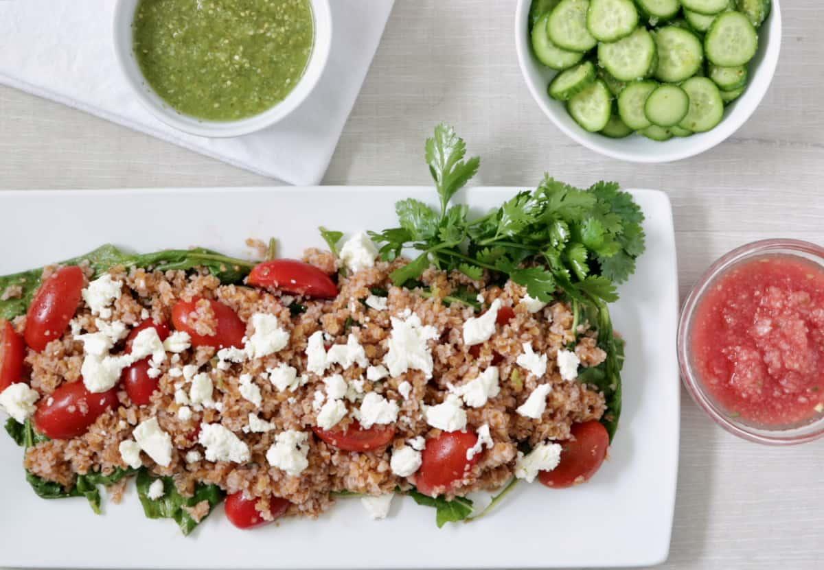 amazing salmon salsa dinner includes this watermelon jicama bulgur salad with a touch of Greek feta