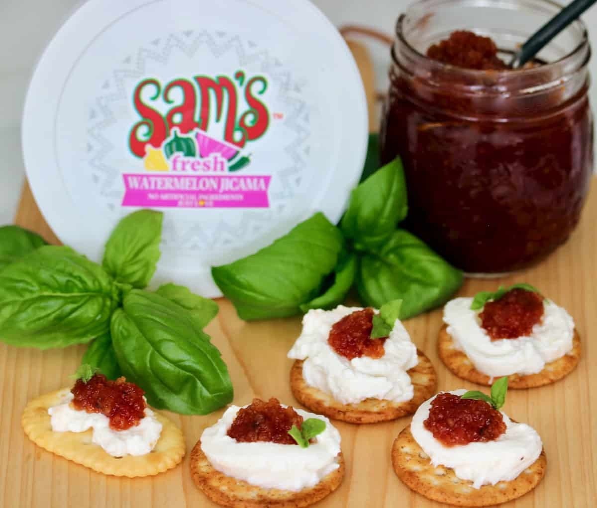 Watermelon jicama jam on burrata with crackers and basil are among the best summer appetizers