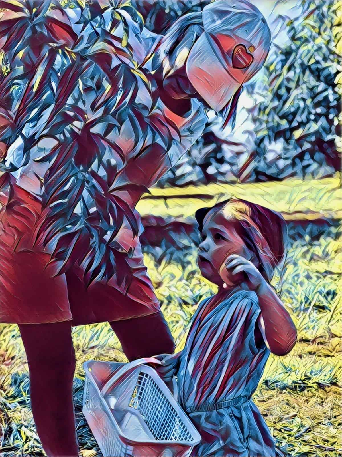 picking peaches with my grand daughter